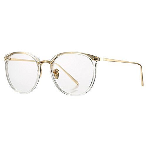 Vintage Round Optical Glasses Frame Hipster Non-prescription Retro Oval Eyewear with Clear Lens for Women - Hipster Glasses Clear