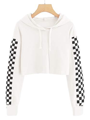 - Imily Bela Kids Crop Tops Girls Hoodies Cute Plaid Long Sleeve Fashion Sweatshirts White