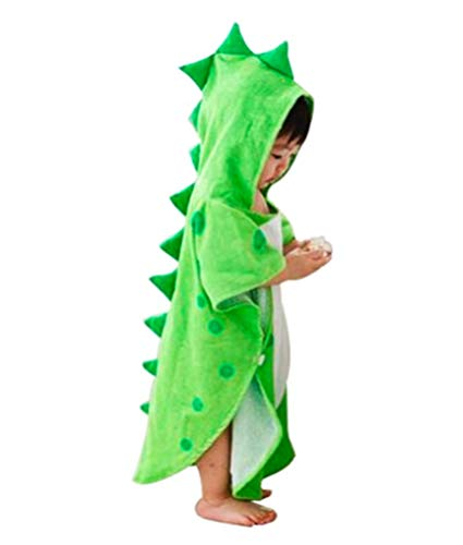 Maleroads Soft Cotton Baby Bath Towel Beach Towel Bathrobe for Kids 0-6 Years (Green Dinosaur, 21.545inch)