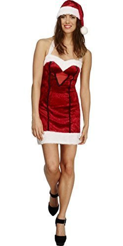 Ladies Fever Miss Sexy Santa Christmas Xmas Mrs Claus Festive Fancy Dress Costume Outfit (UK 12-14) Red