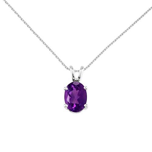 FB Jewels Solid 14k White Gold Genuine Birthstone Oval Amethyst Pendant (4/5 Cttw.)