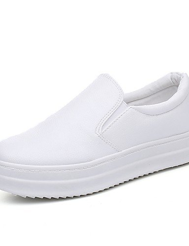 ZQ gyht Zapatos de mujer-Plataforma-Creepers / Punta Redonda / Punta Cerrada-Mocasines-Casual-Semicuero-Negro / Blanco , white-us8.5 / eu39 / uk6.5 / cn40 , white-us8.5 / eu39 / uk6.5 / cn40 black-us5.5 / eu36 / uk3.5 / cn35