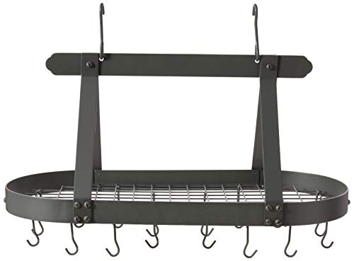 Old Dutch Oval Steel Pot Rack w. Grid & 16 Hooks, Graphite, 36