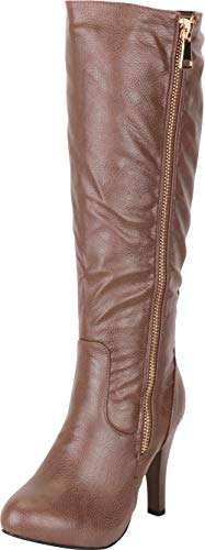 Cambridge Select Women's Side Zip High Heel Knee-High Boot,7.5 M US,Khaki Pu