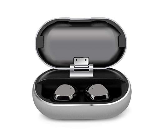 ワイヤレスイヤホン Bluetooth 5.0ヘッドホン マイクとポータブル充電ケース付き真のワイヤレスイヤホン IPX7 防水 15H 再生時間 インイヤーワイヤレスヘッドフォン iPhoneとAndroid用 シルバー X1 B07QLDBSVV シルバー(Silver)