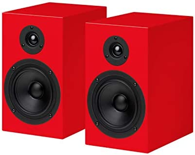 Pro-Ject Box – Speaker Box 5 – Red Surround Audiophile Bookshelf Home Speaker, Set of 2, Silver