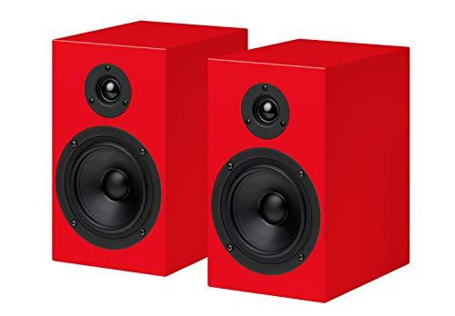 Pro-Ject Box - Speaker Box 5 - Red Surround Audiophile Bookshelf Home Speaker, Set of 2, Silver