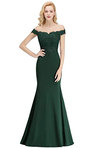 Hunter Green Off Shoulder Mermaid Bridesmaid Dresses Long Maid of Honor Dresses,Dark Green,16