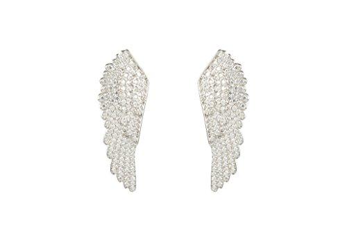 925 Sterling Silver Large Angel Wing Earrings