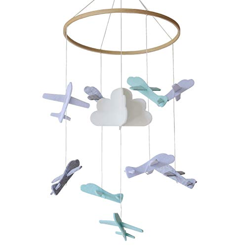 Sanda Baby Crib Mobile - Airplanes and Cloud - Nursery Decor - 100% Felt - White, Grey, Light Blue and Turquoise (Mobiles Airplane Baby)