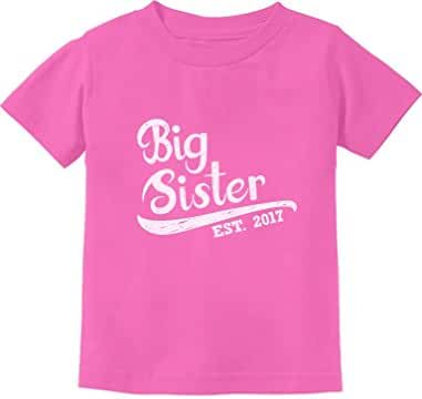 Big Sister Est 2017 Siblings Gift Kids T-Shirt With Big Sister Stickers