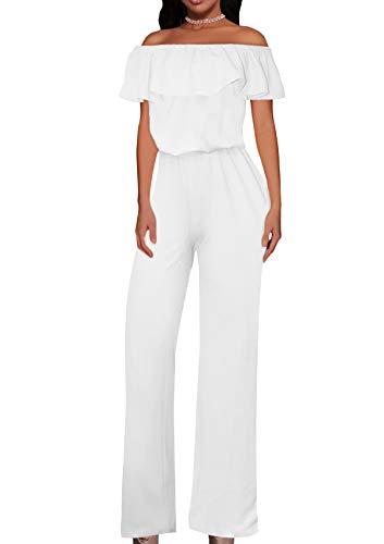 HyBrid & Company Women High Waist Wide Leg Pants Jumpsuit Romper KPVJ47696 E9000 White L (Dresses And White Jumpsuits)