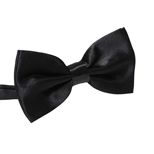 Men's Pre Tied Bow Ties for Wedding Party Fancy Plain Adjustable Bowties Necktie (Black)