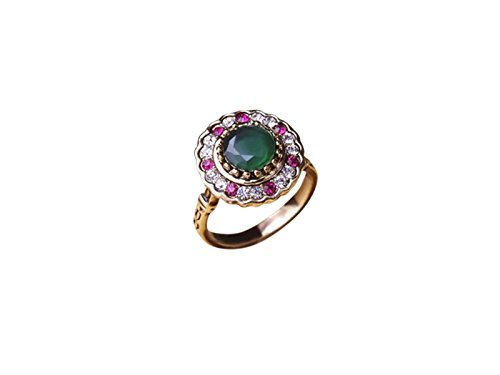 HAVANA Luxury Statement Turkish Jewelry Green Opal Antique Gold Rhinestone Metal Rings For Women (9)