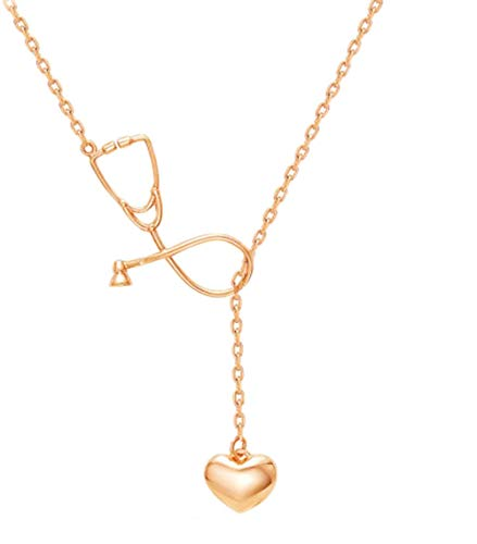 - Cutesmile Fashion Jewelry Gold Rose Gold Silver Plated Stethoscope Lariat Necklace,Heart and Stethoscope Pendant Doctor Nurse Jewelry Gift (Gold)