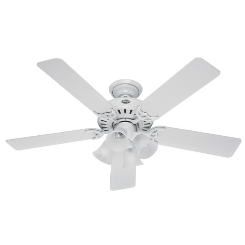 Hunter 20181 52 Inch Studio Series Ceiling Fan White with Bleached Oak Blades