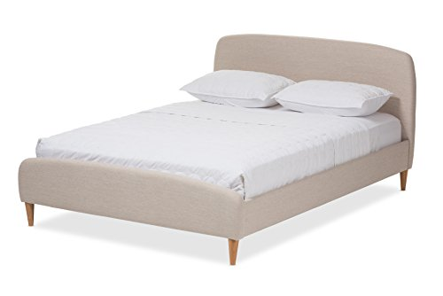 (Baxton Studio Rachele Mid-Century Light Beige Fabric Upholstered King Size Platform)