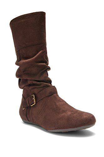 Herstyle Womens Knolla, fashion Calf flat heel, side zipper, Buckled, Slouch Ankle Boots Brown