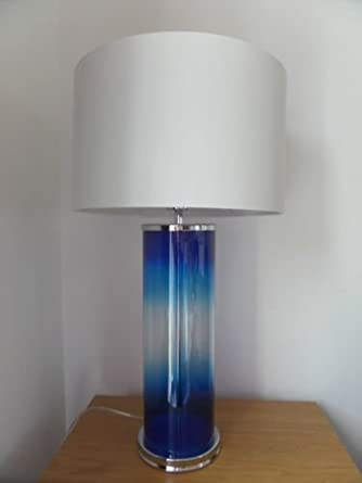 Stunning Bright Blue Glass Table Lamp U0027Statement Pieceu0027 Height 63cm:  Amazon.co.uk: Lighting
