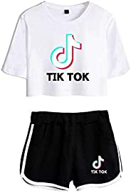 wuyyii Fashion TIK Tok Short-Sleeved T-Shirt with Shorts 2 Piece Set