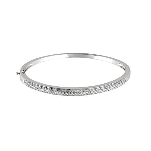 (14k White Gold & Diamond Pave Hinged Bangle Bracelet (1 Cttw, H-I Color, I1 Clarity))