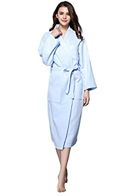 Fortuning's JDS Cozy Lightweight 100%Cotton Waffle Dressing Gown Robes For Women