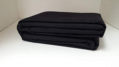 (Linen Superstore 50/50 Cotton Percale King Waterbed Sheet Set with Free Stay Tuck Poles - Black)
