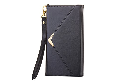 Leather Wallet Phone Protective Case iPhone 8 Plus,Gostyle iPhone 7 Plus Premium Vintage Black Flip Case Envelope Women Purse Handbag Magnetic Cover with Card Holder Wrist Strap and Photo (Magnetic Photo Card)