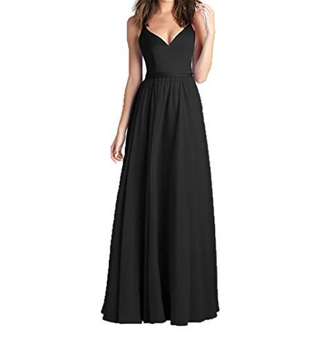 Abendkleider Charmant Lang Schwarz Festlichkleider Brautjungfernkleider Chiffon V Ausschnitt Brautmutterkleider Damen q6H64I