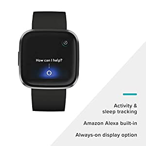 Fitbit Versa 2 Health & Fitness Smartwatch with Heart Rate, Music, Alexa Built-in, Sleep & Swim Tracking, Black/Carbon, One Size (S & L Bands Included)