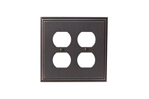 Amerock BP36523ORB Mulholland 2 Receptacle Wall Plate - Oil-Rubbed Bronze