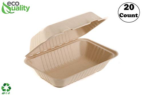 EcoQuality [20 Pack] 6 x 9 x 3 in Compostable Clam Shell Take Out Food Container - Sugarcane Bagasse, Tree Free - Restaurant Supplies, Microwavable, Bidodegradable, Recyclable, Heavy Duty (Rectangle)