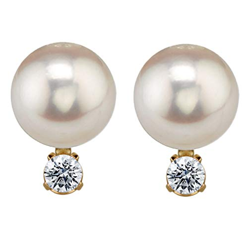 14K Yellow Gold AAA Quality Genuine Akoya Saltwater Cultured Pearl and Diamond Stud Earrings for Women