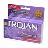 Trojan Sensations Spermicidal Lubricated Latex Condoms 12 CT (Pack of 16)