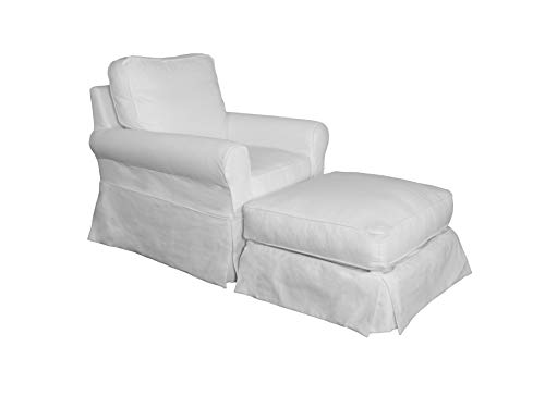 Sunset Trading SU-114993SC-30-391081 Horizon Chair and Ottoman SLIPCOVER ONLY, White