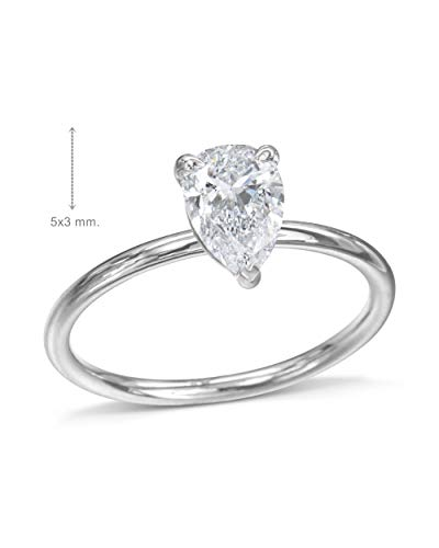 Gia Certified 0.30 Carat Pear Cut Natural Diamond 14K Gold Engagment Ring ()