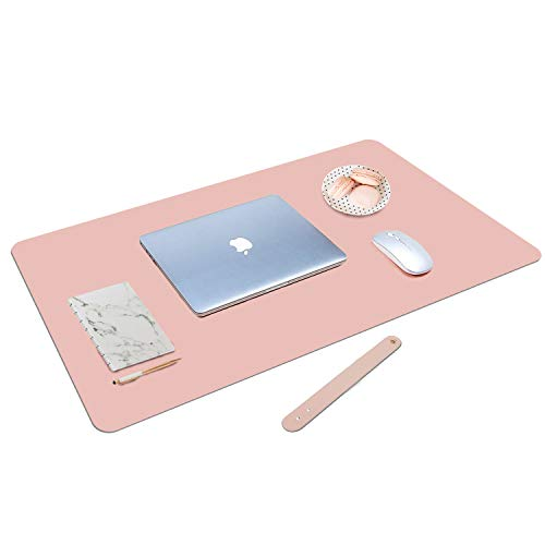Rosegold Desk Pad, Mousepad, Desk Blotter, Blush Pink Mouse Pads for Computers, Pretty Office Desk Accessories for Women, Reversible Pink Mouse Pad, 80x40cm Pink Mat Pad, Rose Gold Office Decor