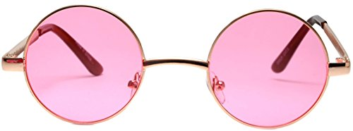(Round Pink Lens Sunglasses S Rose Gold)