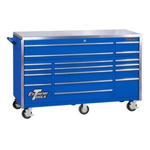 Extreme Tools EX7217RCBL 17-Drawer Triple Bank Roller Cabinet with Ball Bearing Slides, 72-Inch, Blue High Gloss Powder Coat Finish ()