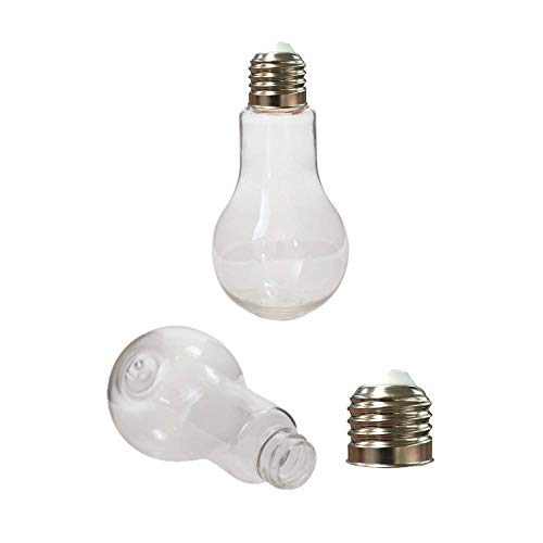 "Houseables Fillable Light Bulb, Candy Container, Plastic, 5.5 oz, 1"" W x 4.9"" L, 24 Pack, Clear, Fake Lightbulb, Jar for Drinking, Christmas Ornaments, Party Favors, Crafts, Decorations, Cups ()"