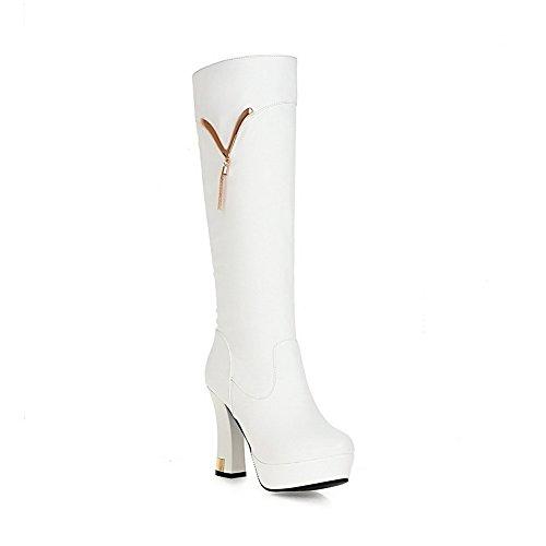 VogueZone009 Damen Hoch-Spitze Weiches Material Rund Zehe Stiefel mit Anhänger Weiß