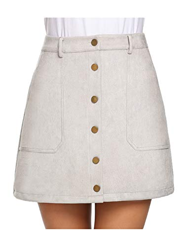 Anmery Women's Faux Suede Skirt Button Front High Waist A-Line Mini Skirt with Pockets Gray Small