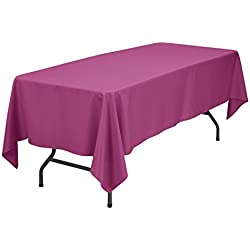VEEYOO 70 x 120 inch Rectangular Solid Polyester Tablecloth for Home Wedding Restaurant Party Buffet Table Picnic, Fuchsia