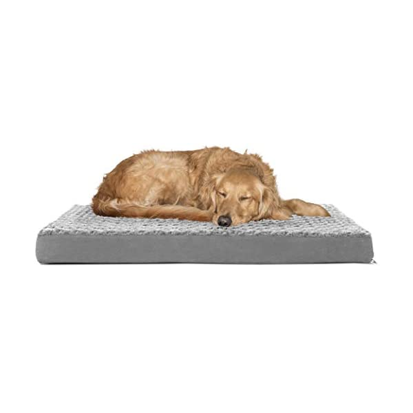 FurHaven Pet Dog Bed | Deluxe Orthopedic Ultra Plush Mattress Pet Bed for Dogs & Cats, Gray, Large 1