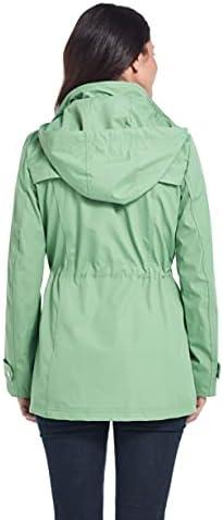 Weatherproof Womens Raincoat Anorak Lightweight Softshell Water Resistant Trenchcoat Rain Jacket with Detachable Hood