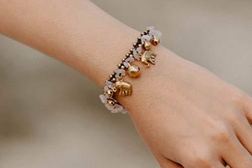 - Changnoi Rose Quartz Bracelet for Women, Bohemian Style Bracelet, Hippie Bracelet with Brass Elephant, Gift for friend