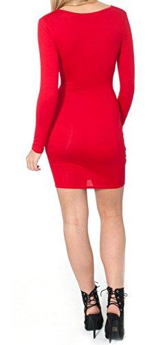 Re Tech UK - Vestido - ajustado - Manga Larga - para mujer Rosso