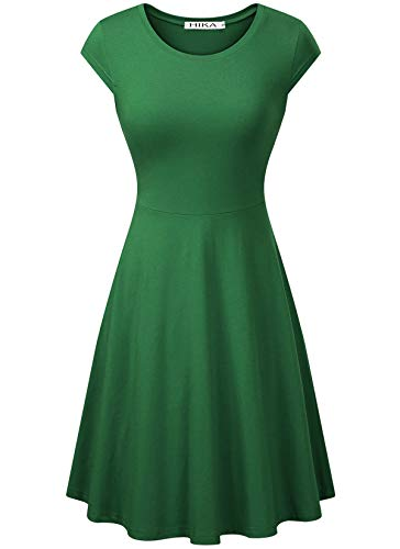 HIKA Women's Casual Elegant A Line Short Cap Sleeve Round Neck Dress (Large, Deep Green) ()