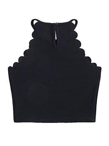 - MAKEMECHIC Women's Solid Halter Neck Cami Scallop Trim Workout Crop Top Navy XS