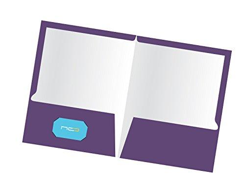 New Generation 2 Pocket Presentation Folder/Portfolio Heavy Duty Paper UV Glossy Laminated, 25 Folders Per Pack in a Display Box, Purple